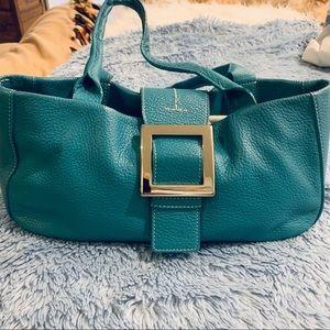 Adrienne Vittadini Turquoise pebbled leather purse